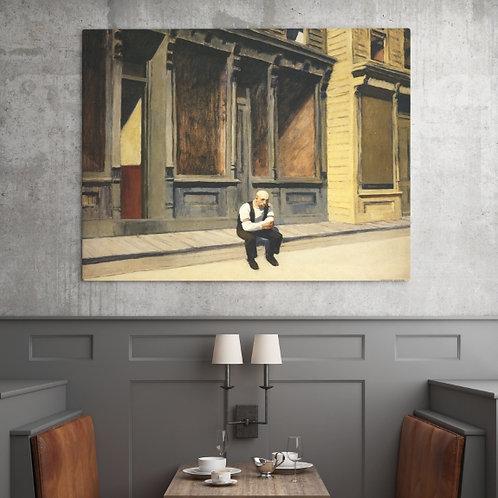 Edward Hopper,Domingo,Sunday,realismo,americano,poster,gravura,reprodução,réplica,canvas,releitura,tela,pintura