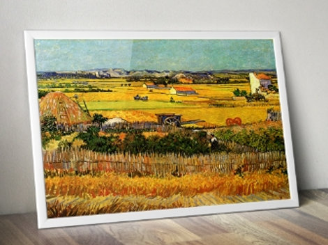 van gogh, a colheita, Harvest at La Crau, with Montmajour in the Background