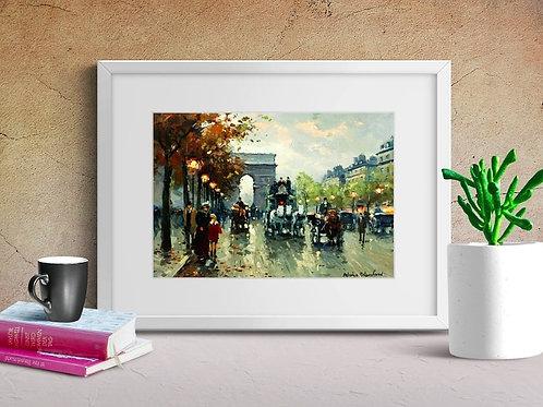 antoine blanchard, Champs Élysée, arco do triunfo, cidade, paris,quadro, poster, replica, gravura, reprodução, canvas, tela