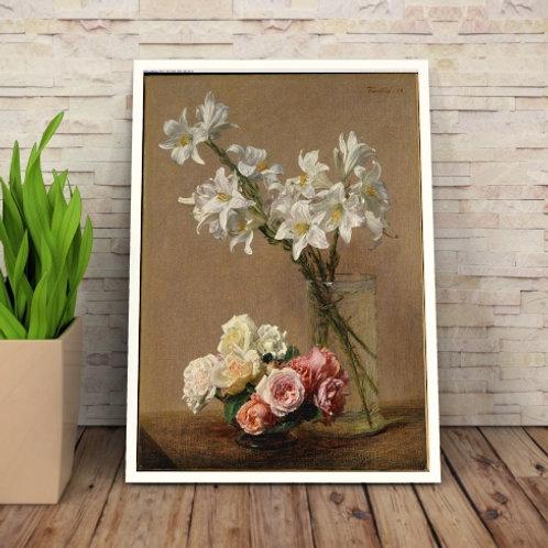 Henri Fantin Latour, Rosas e Lírios,quadro, poster, gravura, canvas, réplica, reprodução, tela, pintura, fototela, releitura