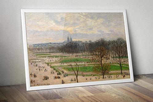 Pissarro,O Jardim das Tulherias em uma Tarde de inverno,quadro,poster,gravura,canvas,replica,reprodução,fototela,tela,pintura