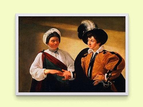 caravaggio, a advinha, The Fortune Teller, quadro, poster, replica, canvas, gravura, reprodução, tela, releitura