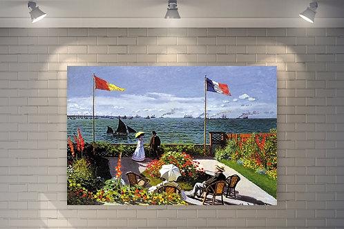 claude monet, Jardim em Sainte-Adresse, garden at sainte adresse, quadro, poster, replica, canvas, reprodução, gravura, tela