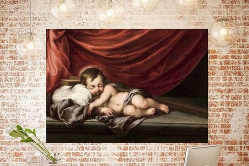 Cornelis Schut,Jesus Criança Dormindo na Cruz,quadro,reprodução,poster,canvas,gravura,replica,fototela,tela,pintura,releitura