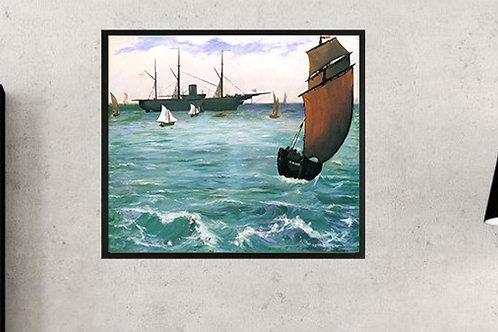 edouard, manet, O Kearsarge em Boulogne, quadro, reprodução, poster, canvas, gravura, replica, fototela, tela, pintura