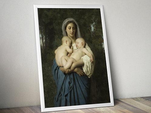 Bouguereau,colo,mãe,bebês,gêmeos,infância,meninas,irmãs,crianças,quadro,canvas,poster,replica,gravura,reprodução,pintura,gicl