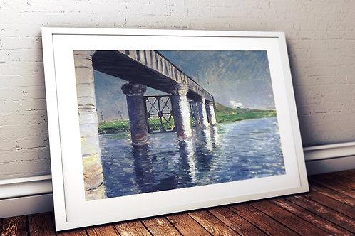 Gustave Caillebotte,O Sena e a ponte da Estrada de ferro, quadro, poster, replica, canvas, gravura, reprodução,tela,fototela