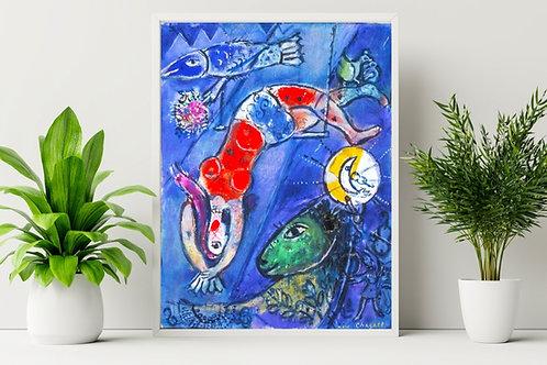 Marc Chagall,O Circo Azul,The Blue Circus,,quadro,reprodução,poster,canvas,gravura,replica,fototela,tela,pintura,releitura