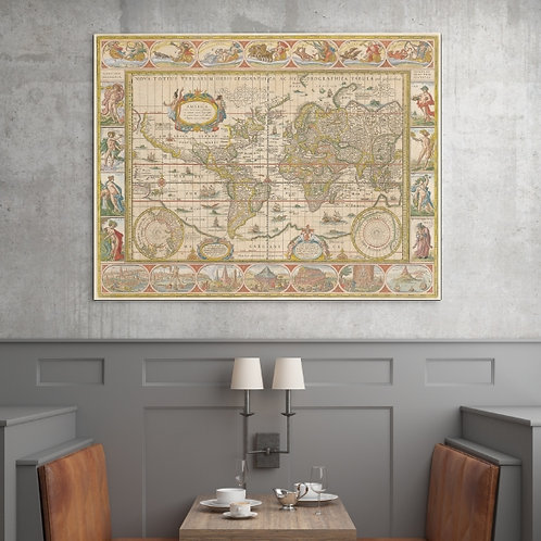 Mapa Mundi,Mapa Mundo,World Map,Antigos,Vintage,Viagem,Historico,História,poster,gravura,reprodução,canvas,réplica,tela pintu