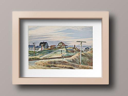 Edward Hopper,Casas de Campo,Cottages at North Truro,realismo,poster,gravura,reprodução,réplica,canvas,releitura,tela,pintura