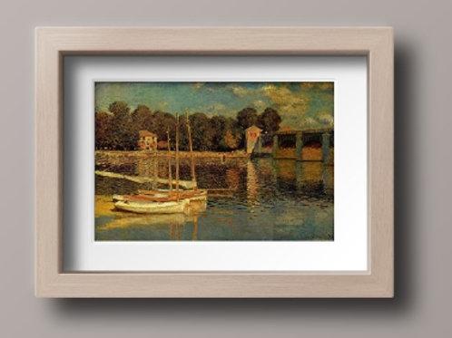 claude monet, ponte de artgenteuil, bridge at argenteuil, quadro, poster, replica, canvas, reprodução, gravura, tela