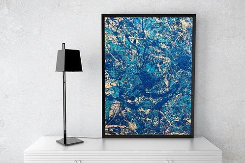 Jackson Pollock,abstrato,Azul,poster, gravura, reprodução, canvas, replica, releitura,tela,pintura