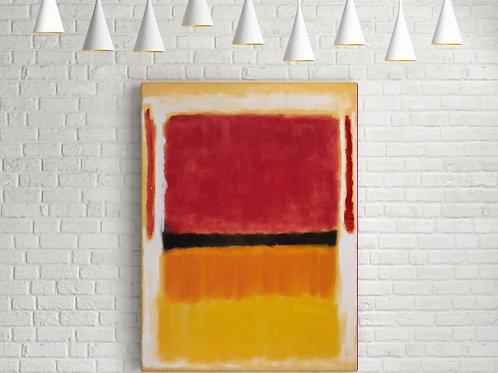 Rothko,Preto, Laranja, Amarelo no Branco e Vermelho,quadro,poster,réplica,canvas,gravura,reprodução,tela,fototela,pintura