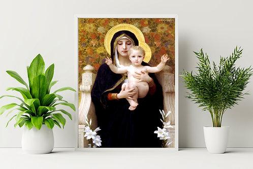 Bouguereau,Virgem com Lírios,The Madonna of the Lilies,quadro,canvas,poster,replica,gravura,reprodução,pintura,giclée,tela