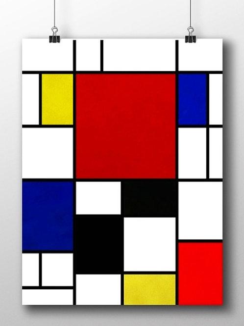 piet Mondrian, Composição com vermelho, amarelo e azul, quadro, poster, gravura, canvas, replica, reprodução, releitura