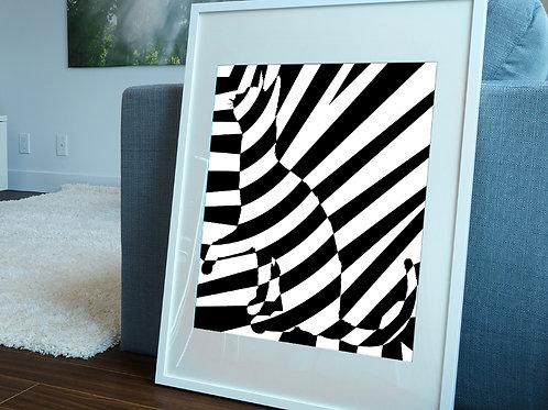 Quadro, Poster, Gravura, Op Art,3d,Arte Ótica,ilusão ótica,Minimalista, Canvas, branco, preto, abstrato, decorativo, fototela