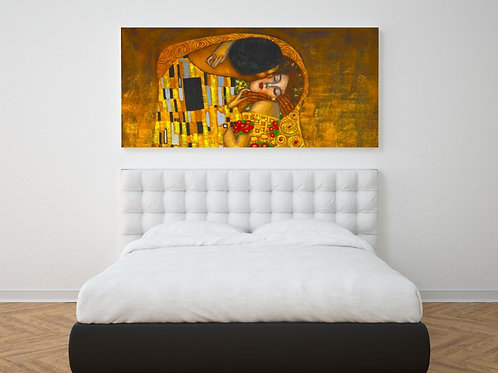 Gustav Klimt, O Beijo, quadro, poster, gravura, replica, canvas, reprodução, tela, releitura