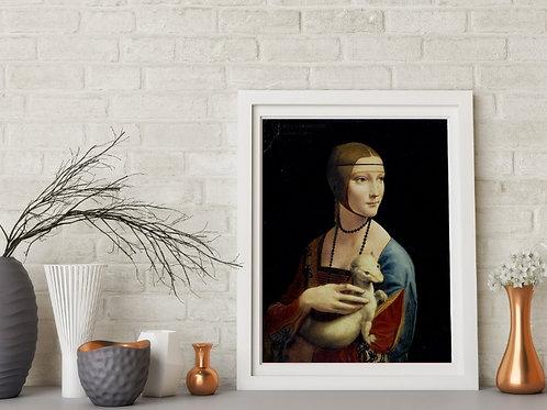 Leonardo Da Vinci,Dama com Arminho,Lady with an Ermine,quadro,poster,gravura,replica,canvas,fine art,pintura,tela