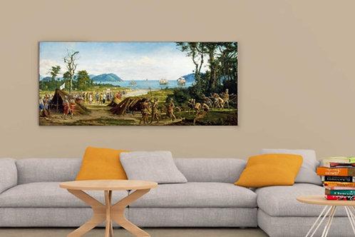 Benedito Calixto, Fundação de São Vicente, quadro, poster, replica, canvas, gravura, reprodução, tela,releitura, fototela