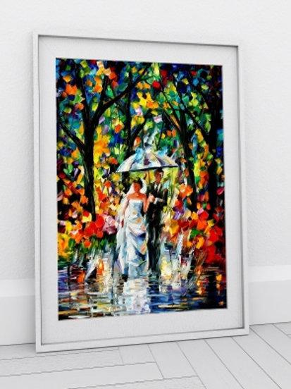 Quadro decorativo, Leonid Afremov, casal de noivos, Espatulado, quadro, poster, replica, gravura, canvas, reprodução