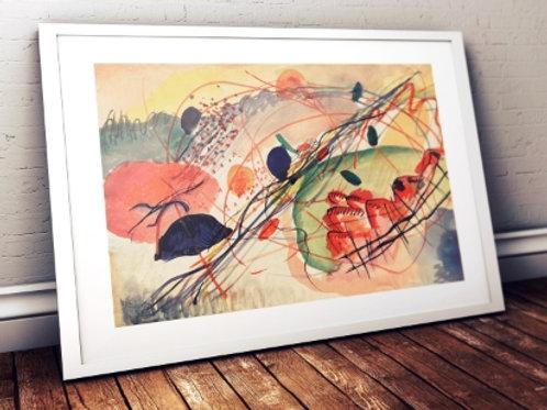 wassily Kandinsky, Watercolor 6, aquarela 6, poster, gravura, reprodução, canvas, replica, releitura