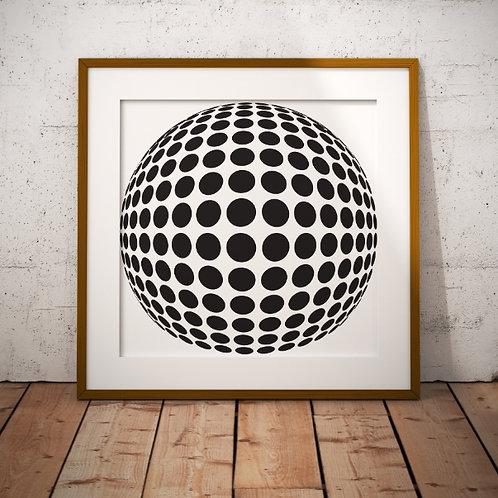 Quadro, Poster, Gravura,Op Art,Arte Ótica,3d,ilusão ótica,Minimalista,Canvas,bola,preto e branco,abstrato,decorativo,fototela