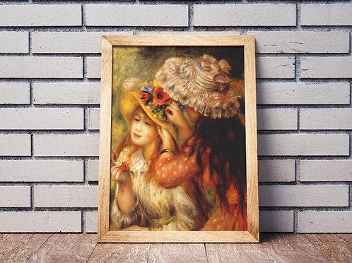 renoir,Meninas que Colocam Flores em seus Chapéus,quadro,poster,gravura,replica,reprodução,canvas,fototela,tela,pintura