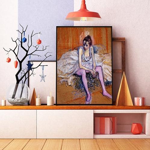 Toulouse Lautrec, Dançarina Sentada com Meia-Calça Rosa,quadro,poster,replica,canvas,gravura,reprodução,tela,fototela,pintura