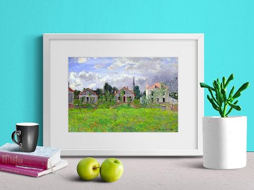 Claude Monet, Maisons, Argenteuil, casa, mansão, quadro, poster, replica, canvas, reprodução, gravura, tela