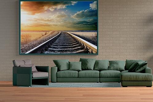 fotografia,linha do trem,sol,paisagem,linha horizonte,quadro,canvas,poster,replica,gravura,reprodução,fototela,tel