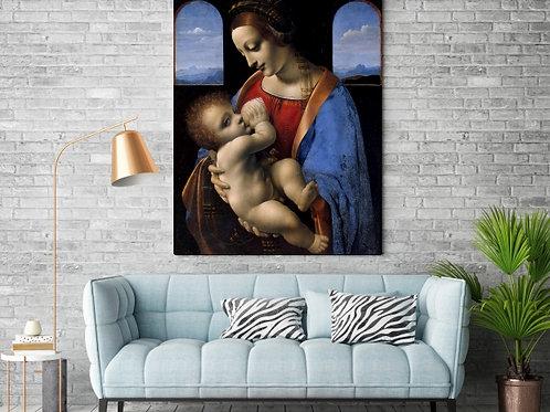 Leonardo Da Vinci, Madona Litta,Madonna e a Criança,quadro,amamentando,poster,replica,gravura,canvas,reprodução,tela,giclee