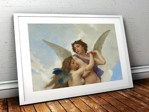 bouguereau, amor e a psiquê, cupido e a psiquê, eros e a psiquê, quadro, reprodução, poster, canvas, gravura, replica, tela