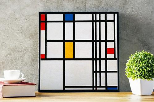 Mondrian, Composição Vermelho Azul Amarelo, quadro, poster, replica, gravura, reprodução, canvas, fototela, cópia, tela