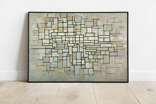Mondrian, Composição em Cinza Azul e Rosa, quadro, reprodução, poster, canvas, gravura, replica, fototela, tela, pintura
