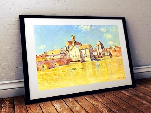 alfred sisley, Ponte de Moret em manhã de sol, Bridge of Moret in morning sun, quadro, poster, replica, canvas, gravura, tela