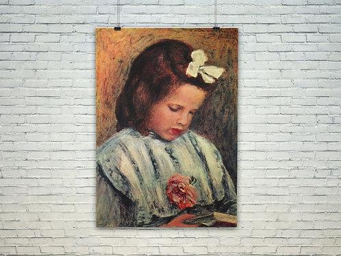 Renoir,Menina com um Laço,Menina Lendo,quadro,poster,gravura,replica,reprodução,canvas,fototela,tela,pintura