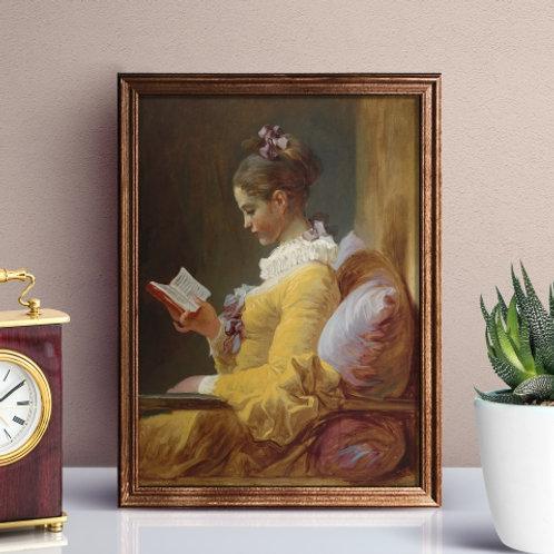 Jean Honoré Fragonard, A Jovem Lendo, A Leitora, quadro, poster, gravura, canvas, réplica, reprodução, tela, pintura,fototela