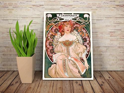 Alfons Mucha,Daydream,Champenois,quadro,poster,gravura,replica,canvas,pintura,tela