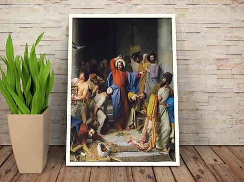 Carl Heinrich Bloch, Jesus Limpando o Templo, quadro, poster, canvas, reprodução, gravura, replica, tela, releitura