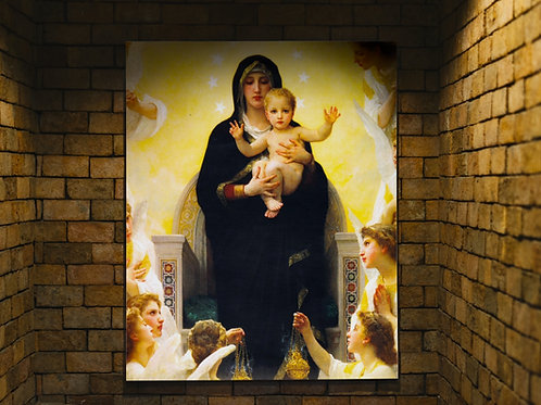 Bouguereau,Virgem Maria,Menino Jesus,anjos,quadro,religioso,religião,Jesus,católico,poster,replica,gravura,canvas,reprodução