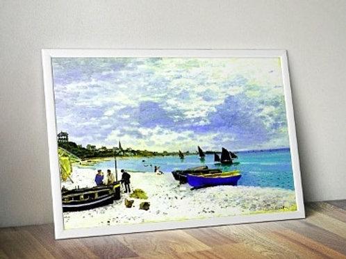claude monet, A praia em Saint-Adresse, the beach at saint adresse, quadro, poster, replica, canvas, reprodução, gravura,tela