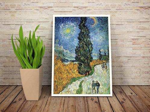 van gogh, Estrada com Cipreste e Estrela, Road with Cypress and Star, poster, gravura, reprodução, canvas, replica, releitura
