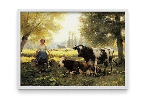 vacas, camponeses, sitio, fazenda, chacara, quadro, poster, replica, canvas, gravura, reprodução, tela, releitura, fototela