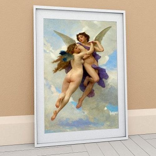 bouguereau, Amor e a Psique, cupido e a psique, eros, Love And Psyche, Cupid & Psyche, quadro, reprodução, poster,canvas,tela