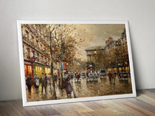 antoine blanchard, boulevard, madeleine, gravura de paris, cidade, paris, quadro, replica, gravura, reprodução, canvas, tela