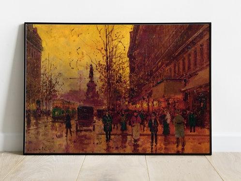 Edouard Léon Cortès, praça da repúbica, paris, A Place de la Republique, quadro, poster, gravura, canvas, tela, réplica