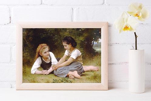Bouguereau,As Apanhadoras de Nozes,Les noisettes,quadro,canvas,poster,replica,gravura,reprodução,pintura,giclée,tela,fine art