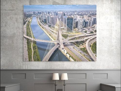 fotografia,ponte,estaiada,São Paulo,aérea,cidade,quadro,canvas,poster,replica,gravura,reprodução,fototela,tela,pintura