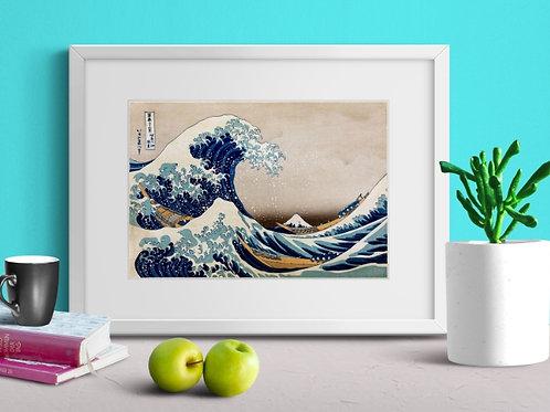 hokusai, A Grande Onda de Kanagawa, A Grande Onda em Kanagawa, quadro, poster, gravura, reprodução, canvas, replica, tela