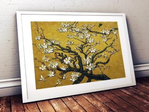 vincent, van gogh, Ramos de uma amendoeira em flor amarela,Branches of an Almond Tree in Blossom yellow,poster,gravura,canvas